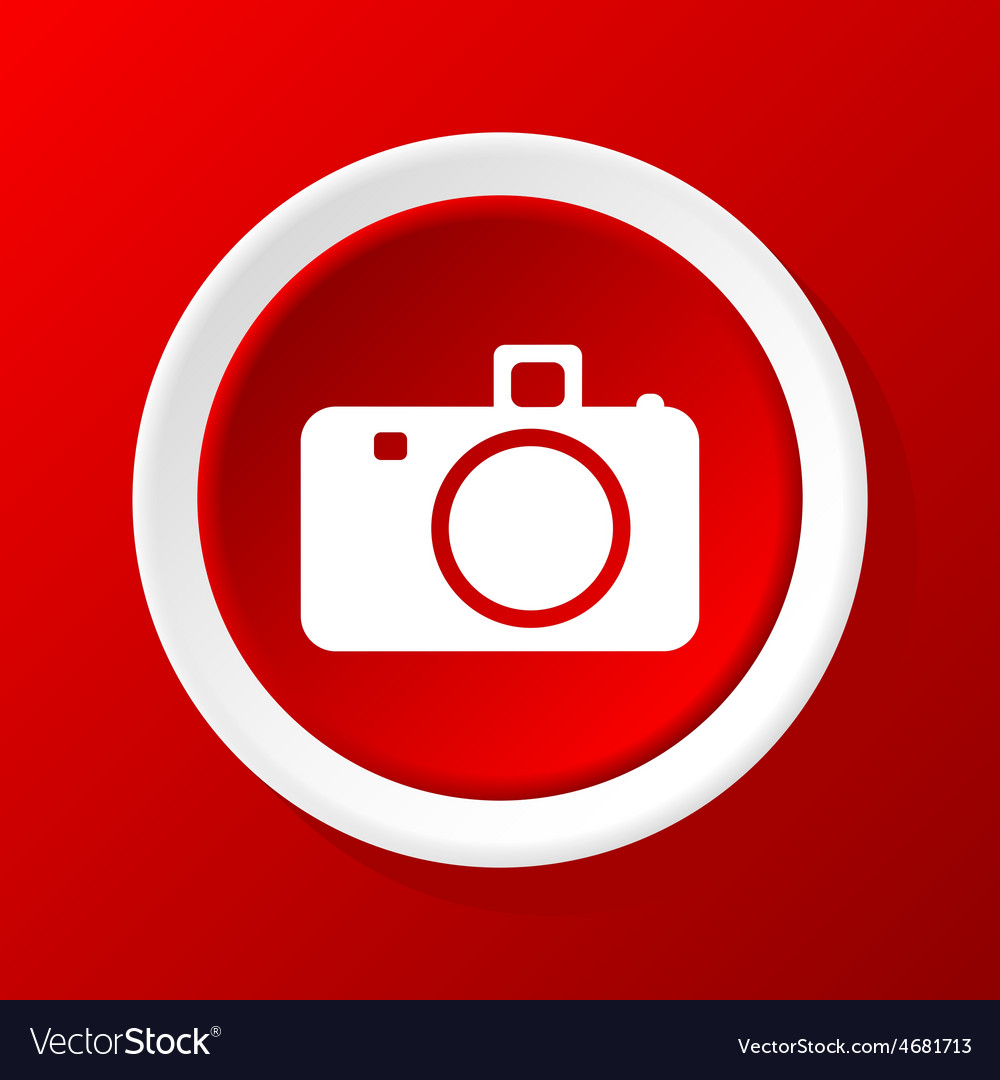 Camera icon on red vector | Price: 1 Credit (USD $1)