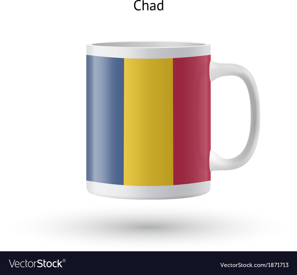 Chad flag souvenir mug on white background vector | Price: 1 Credit (USD $1)