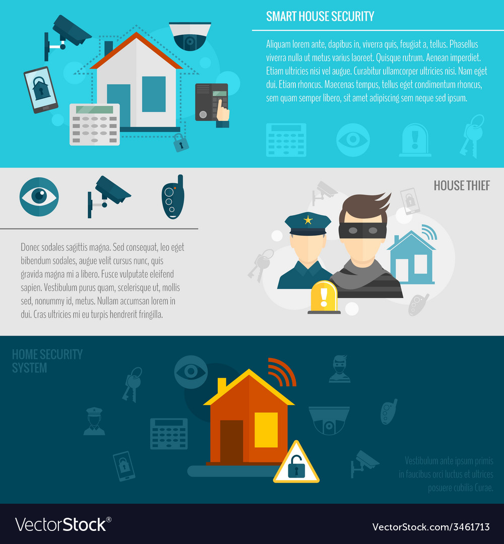 Home security banner set vector | Price: 1 Credit (USD $1)