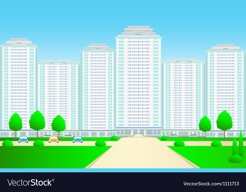 Landscape with skyscrapers and street vector | Price: 1 Credit (USD $1)