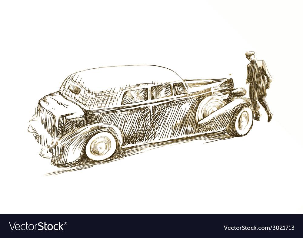 Old car vector | Price: 1 Credit (USD $1)