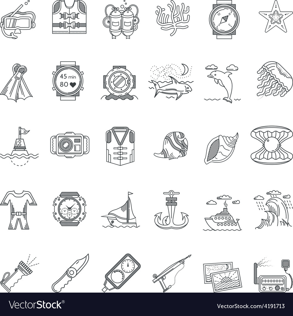 Sea leisure black line icons collection vector | Price: 1 Credit (USD $1)