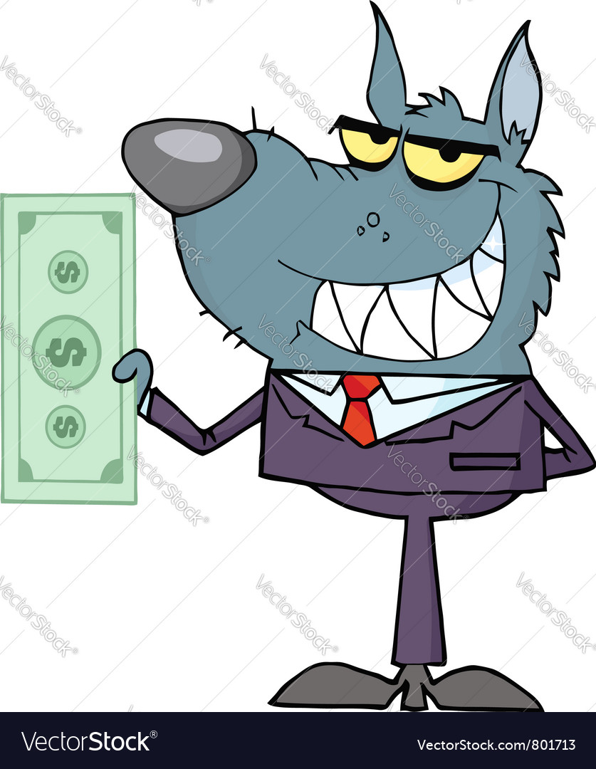 Wolf business man waving a greeting vector | Price: 1 Credit (USD $1)