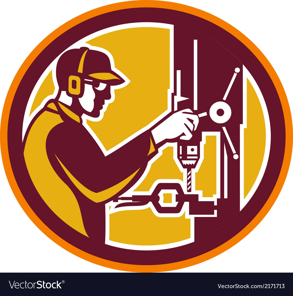 Worker drilling drill press retro circle vector | Price: 1 Credit (USD $1)