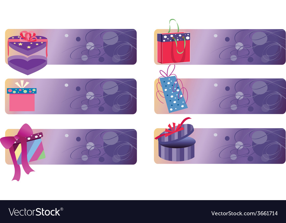 Banners with gift boxes vector | Price: 1 Credit (USD $1)