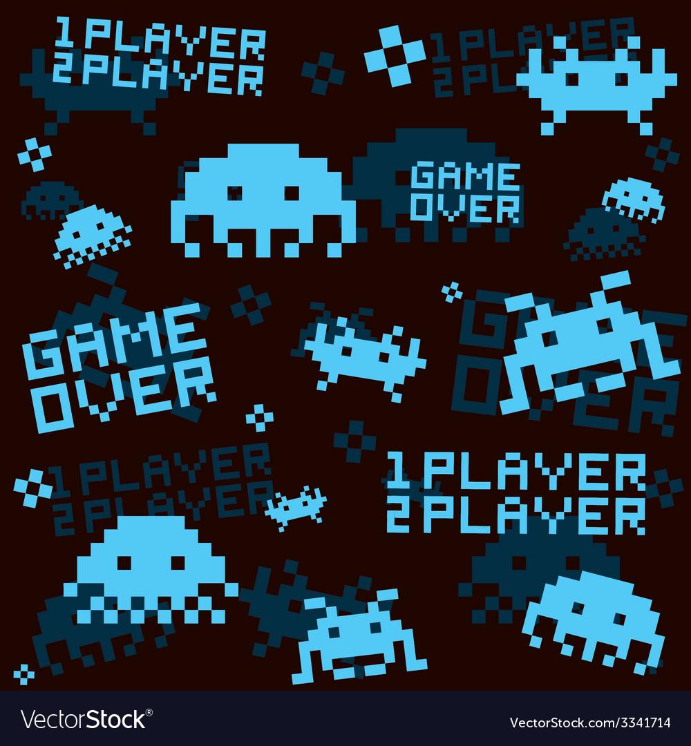 Black space invaders pattern vector | Price: 1 Credit (USD $1)