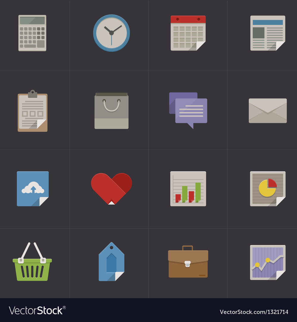 Business metro retro icon set vector | Price: 1 Credit (USD $1)