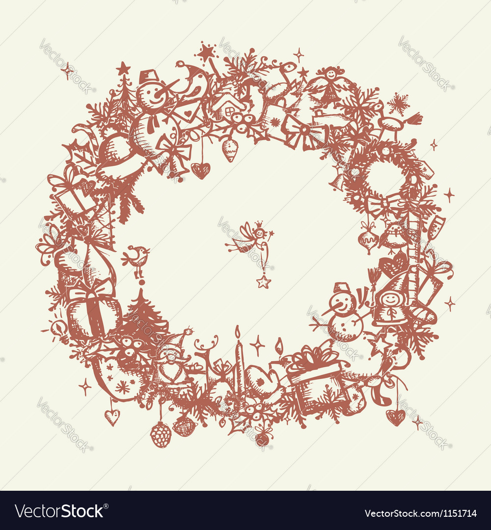 Christmas frame sketch drawing for your design vector   Price: 1 Credit (USD $1)