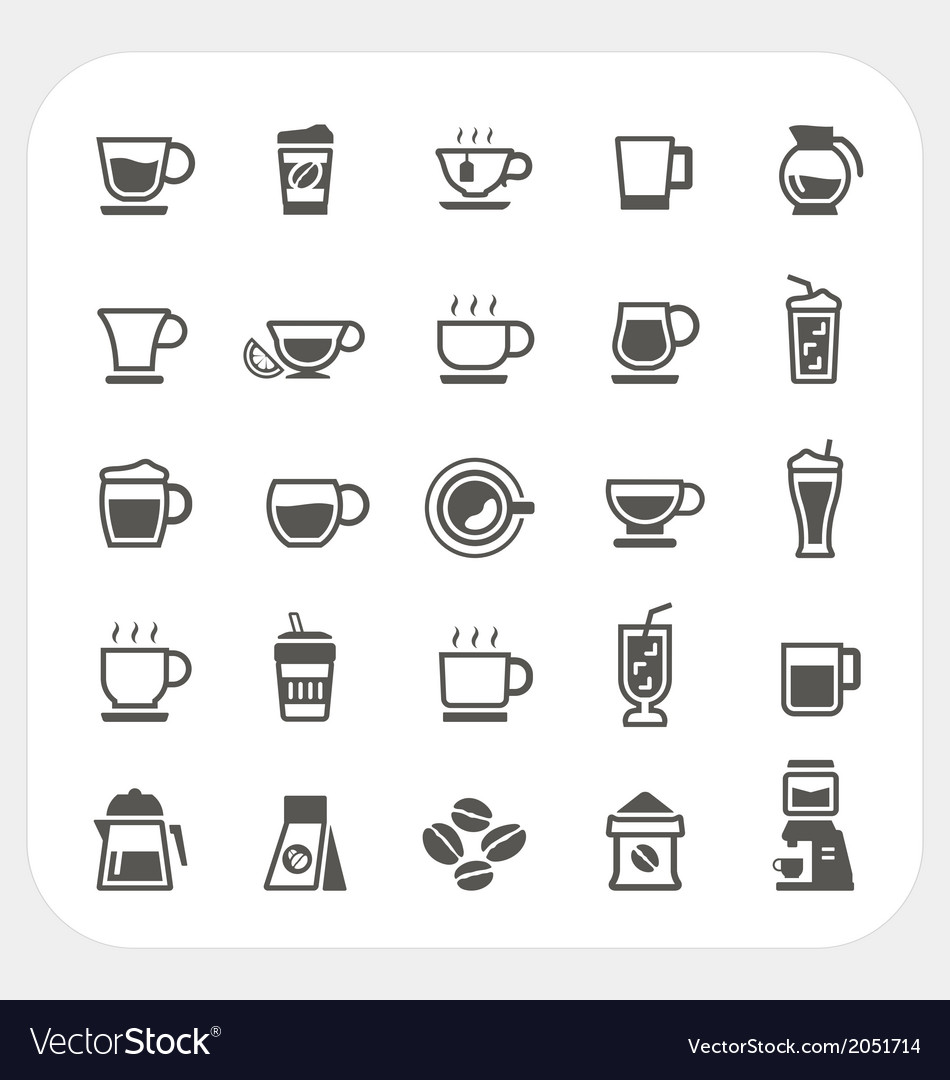 Coffee and tea cup icons set vector | Price: 1 Credit (USD $1)
