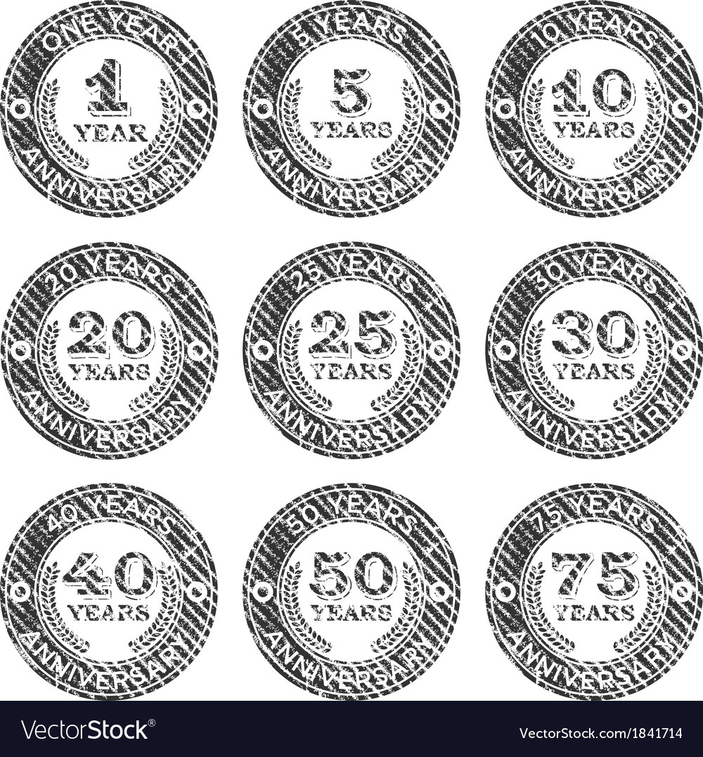 Grunge anniversary stamps emblem vector | Price: 1 Credit (USD $1)