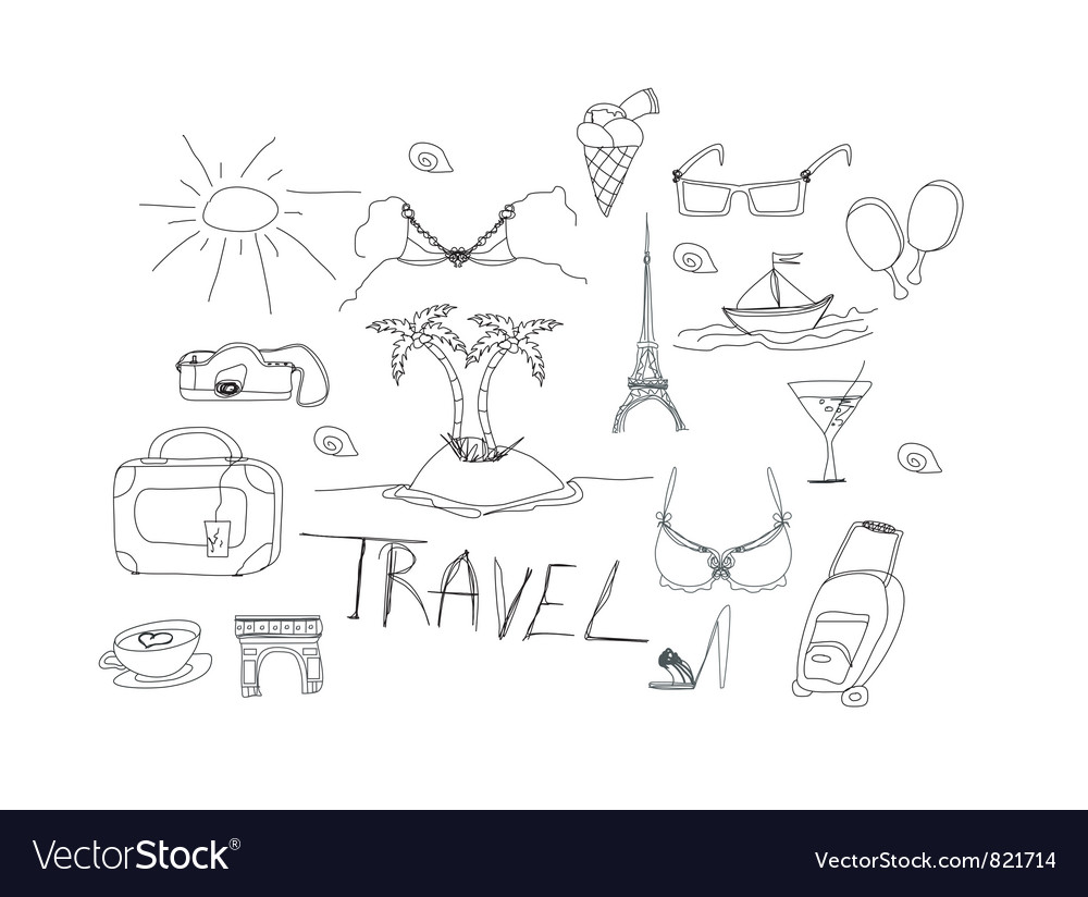Hand drawn travel doodles vector | Price: 1 Credit (USD $1)