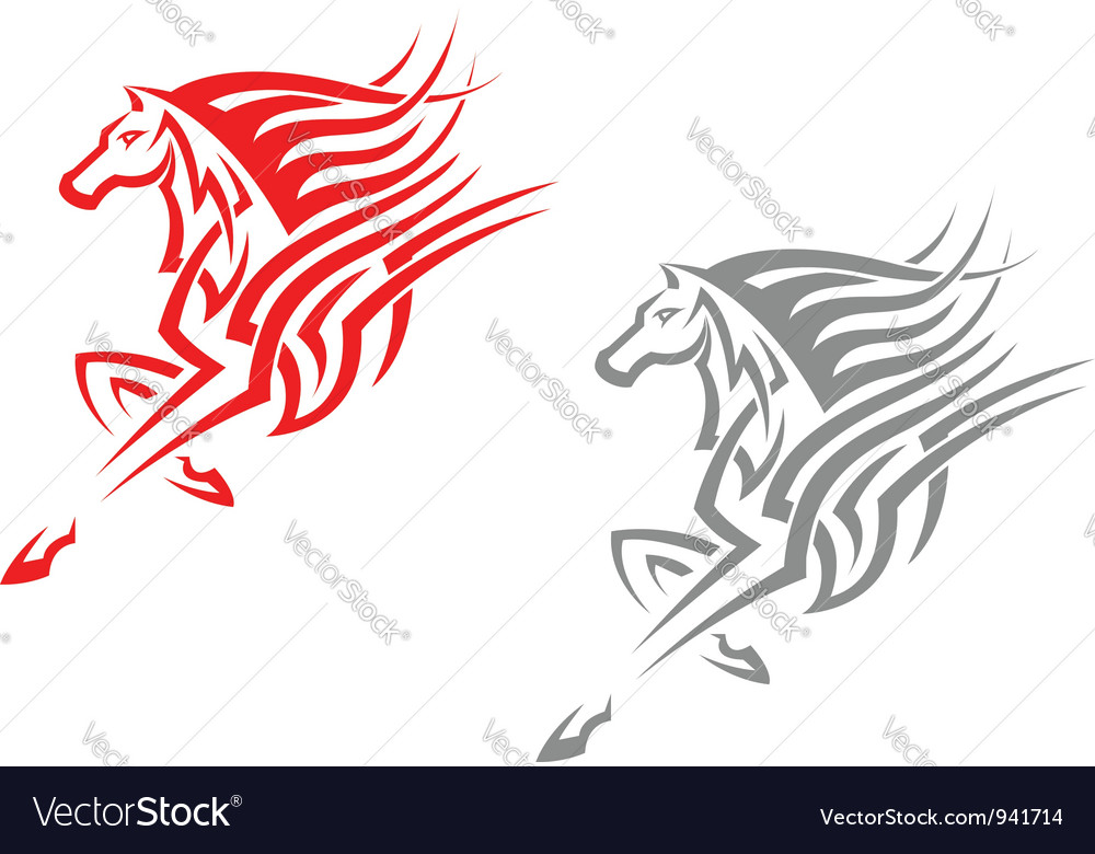 Horse mascots in tribal style vector | Price: 1 Credit (USD $1)