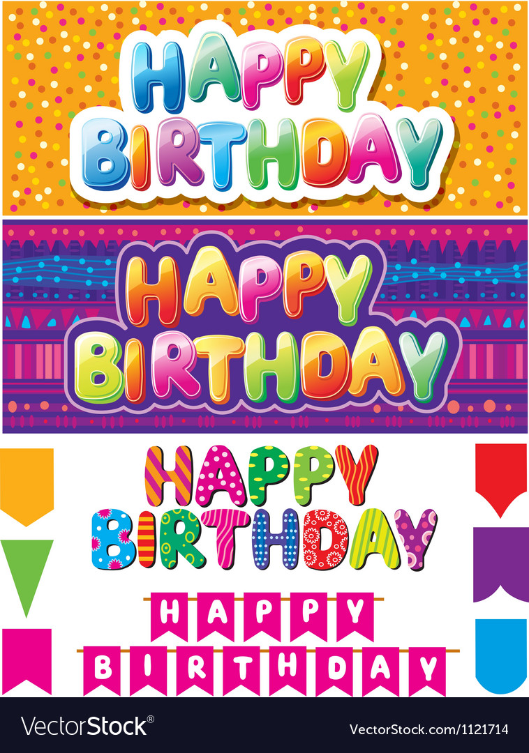Set of colorful happy birthday texts vector | Price: 1 Credit (USD $1)