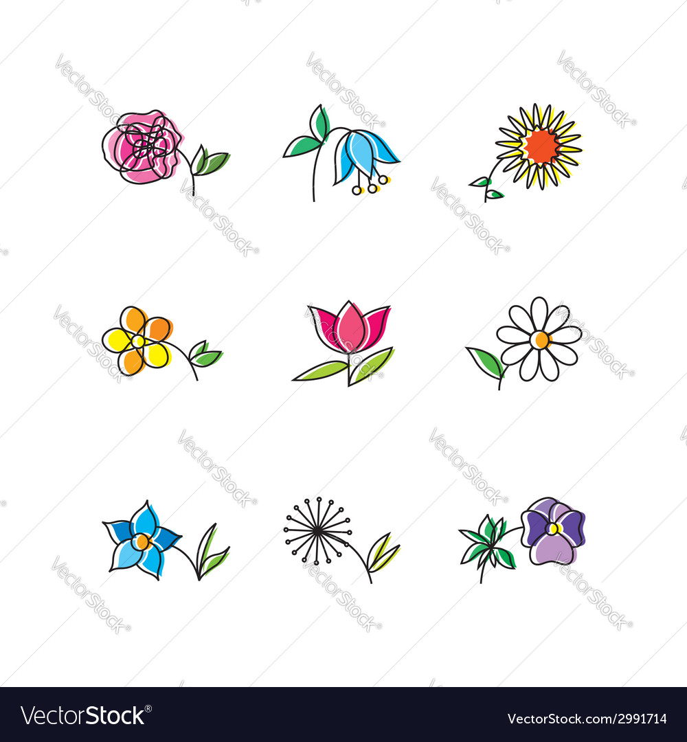 Set of flowers vector