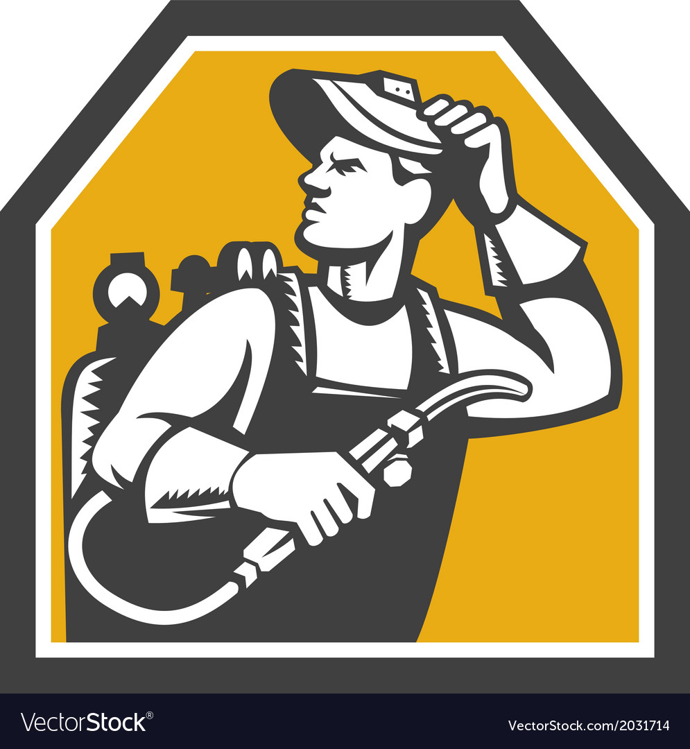 Welder holding welding torch woodcut retro vector | Price: 1 Credit (USD $1)