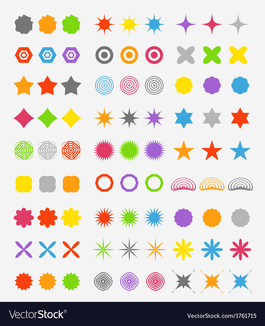 Abstract primitive color figures collection vector | Price: 1 Credit (USD $1)