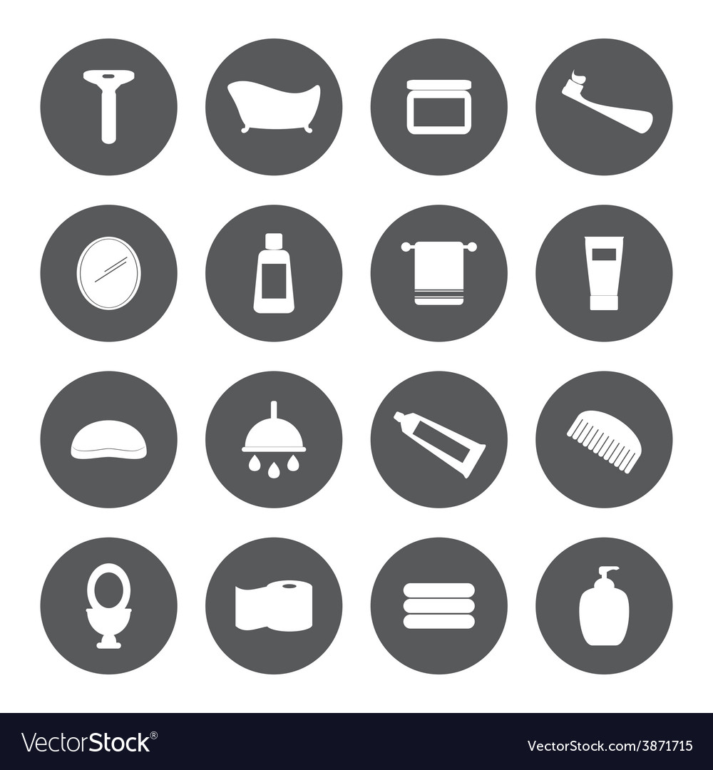 Bath and shower icons vector | Price: 1 Credit (USD $1)