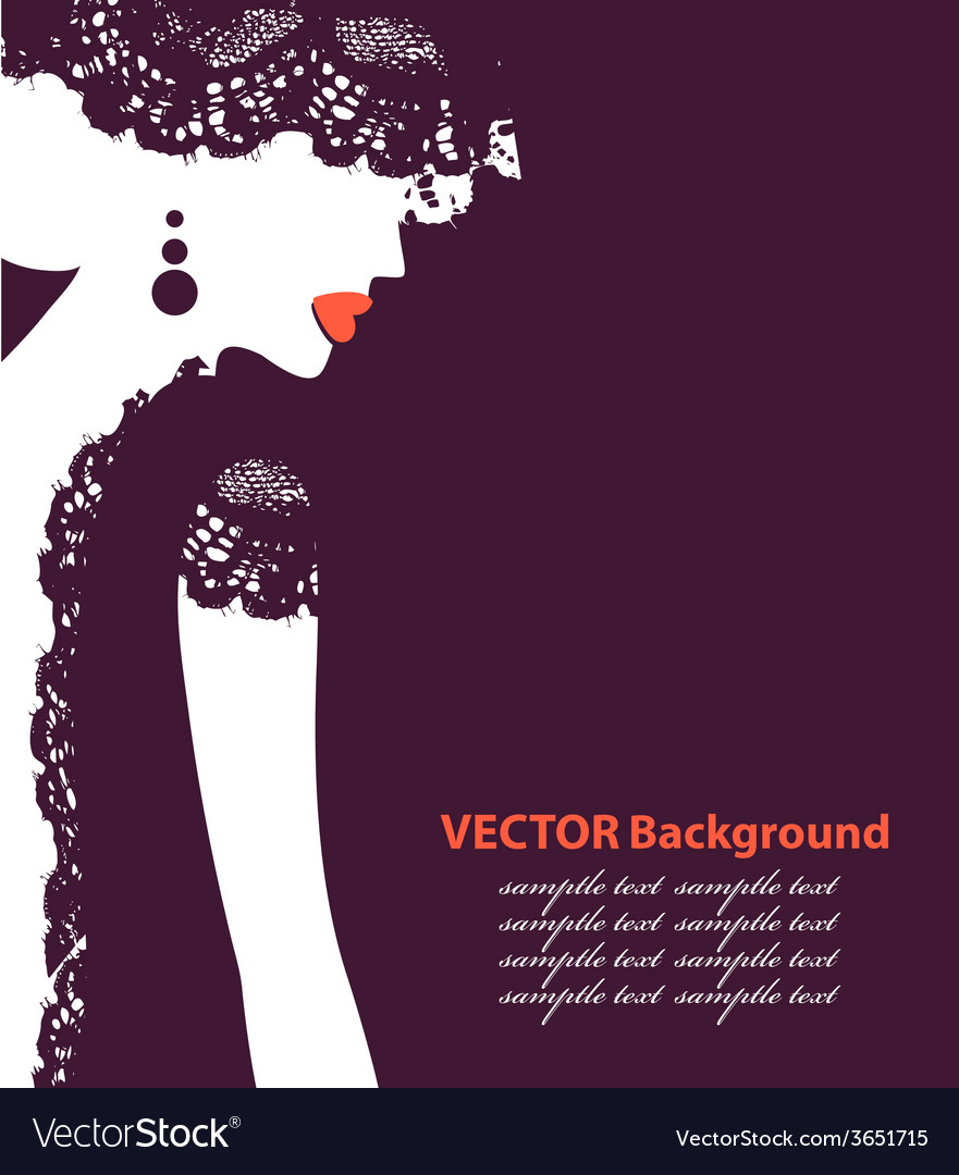 Beautiful female face silhouette in profile vector | Price: 1 Credit (USD $1)