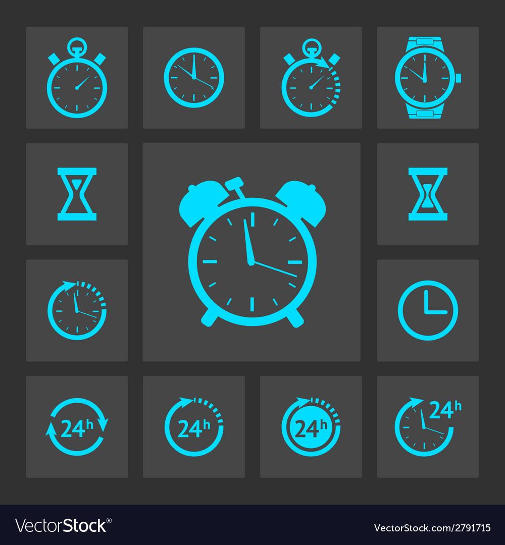 Blue clock icons set vector | Price: 1 Credit (USD $1)