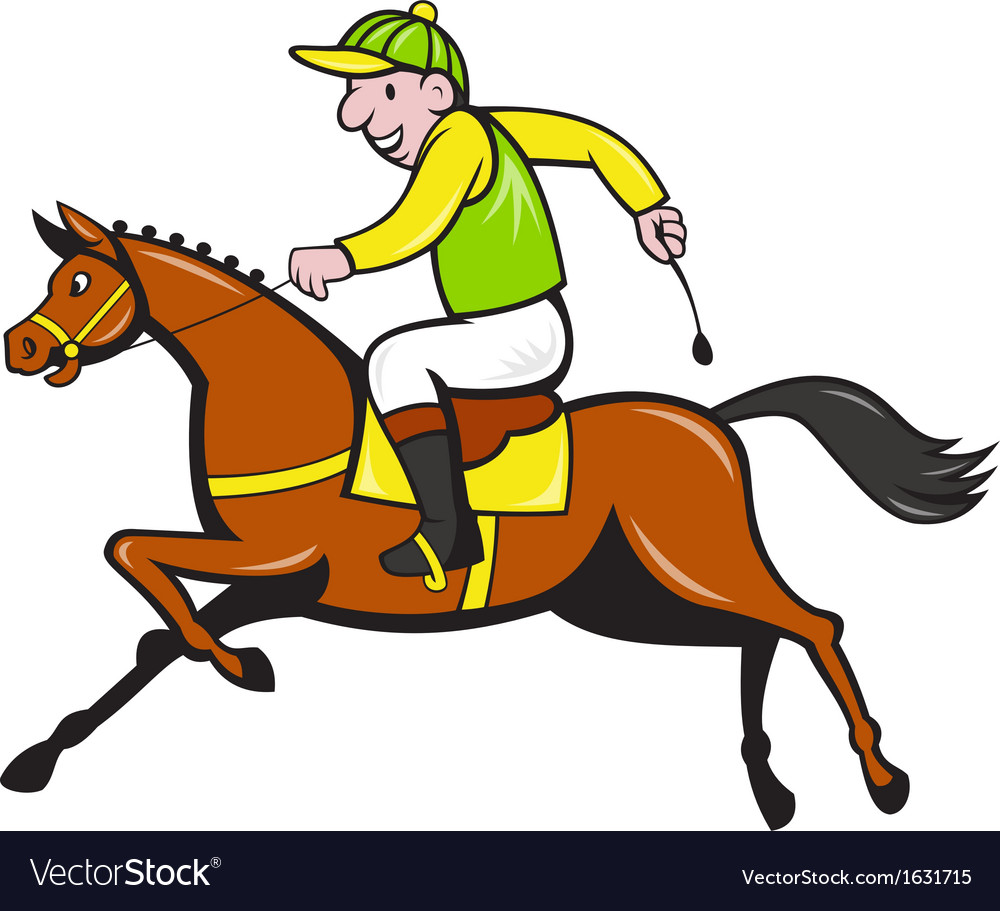 Cartoon jockey and horse racing side vector | Price: 1 Credit (USD $1)