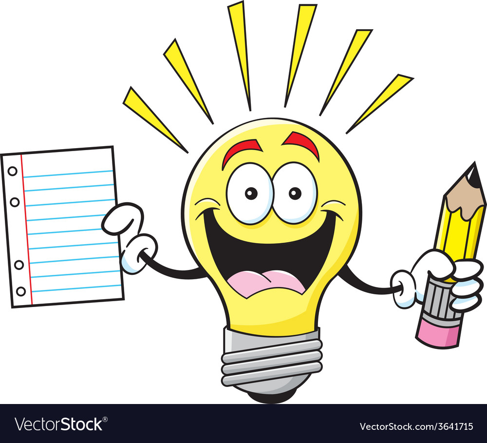 Cartoon light bulb holding a paper and pencil vector | Price: 1 Credit (USD $1)
