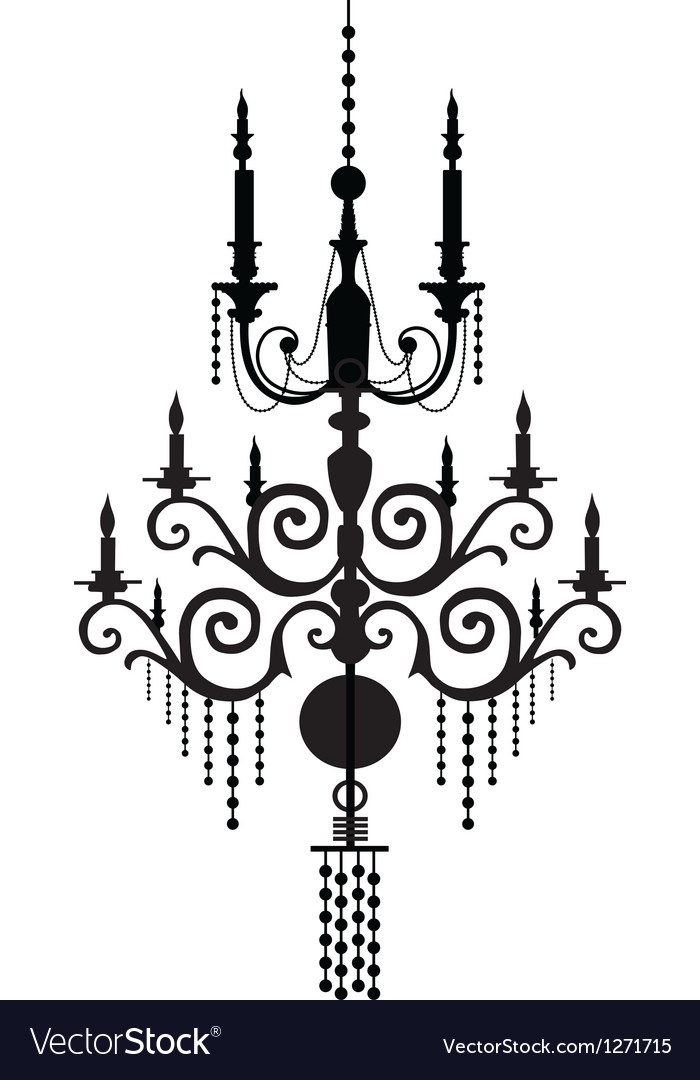 Chandelier silhouettes vector | Price: 1 Credit (USD $1)