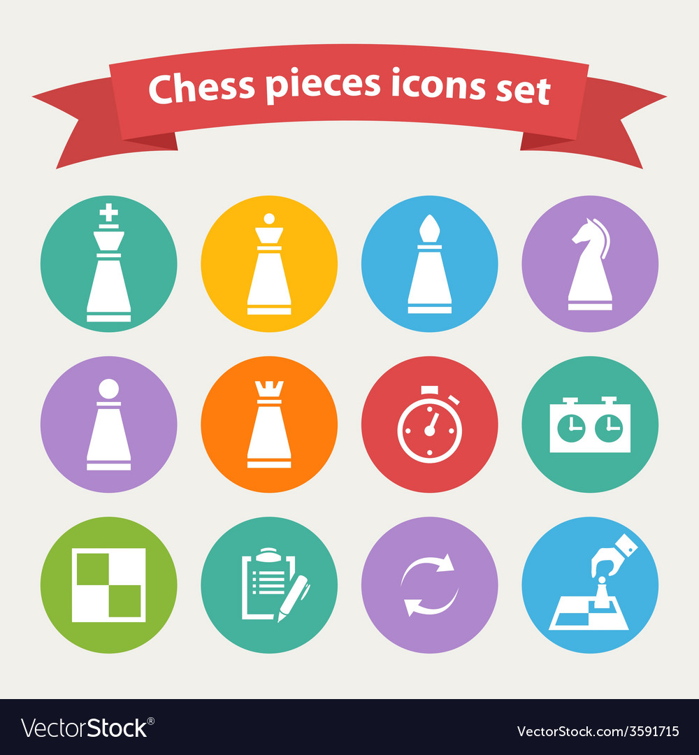 Chess pieces white icons set vector | Price: 1 Credit (USD $1)