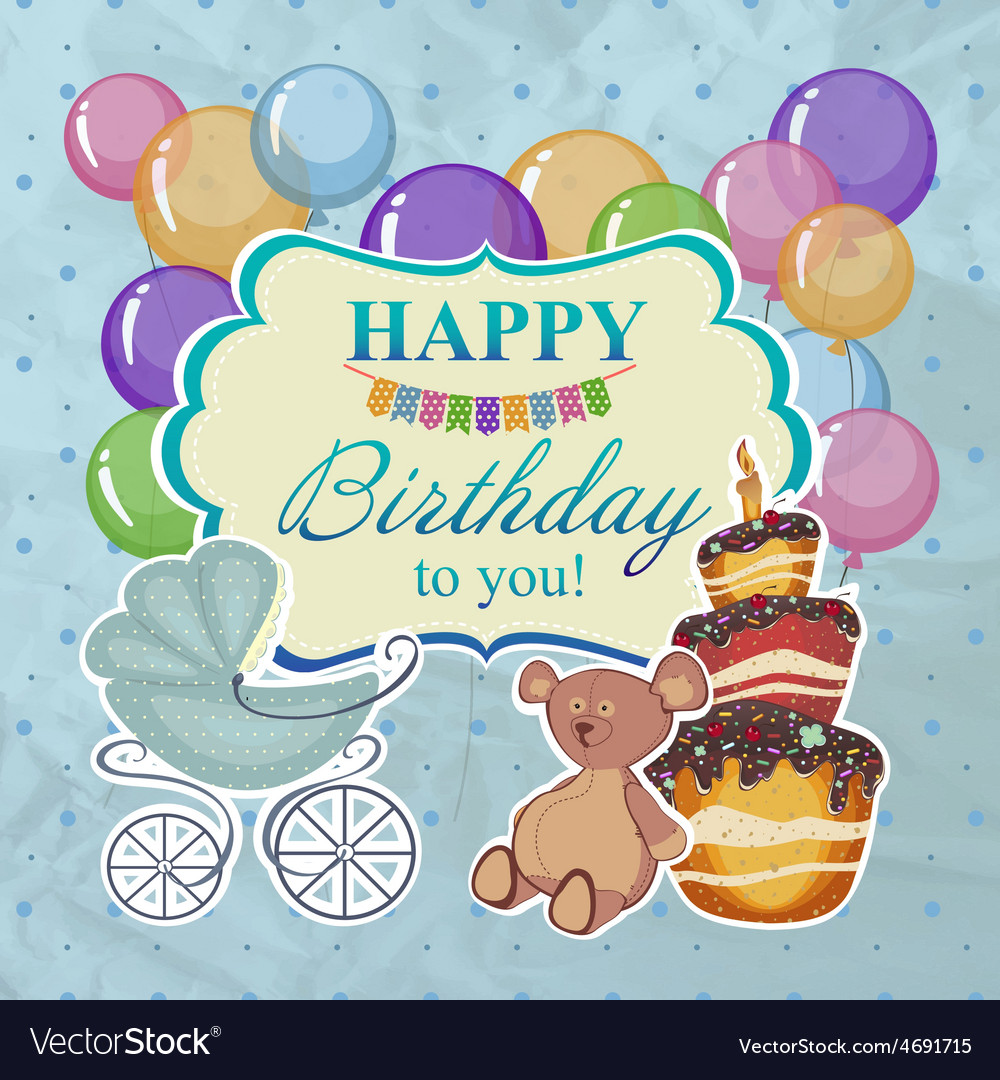 Childrens greeting background with the birthday vector | Price: 1 Credit (USD $1)