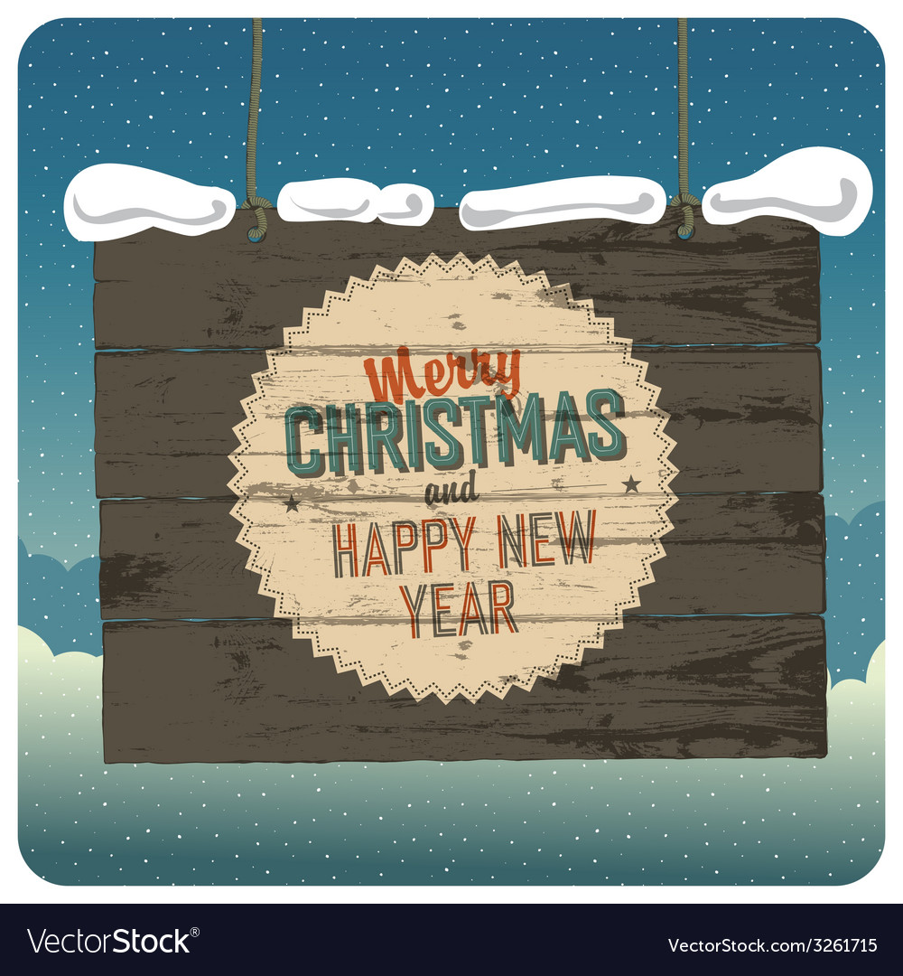 Christmas wooden signboard with clouds vector | Price: 1 Credit (USD $1)