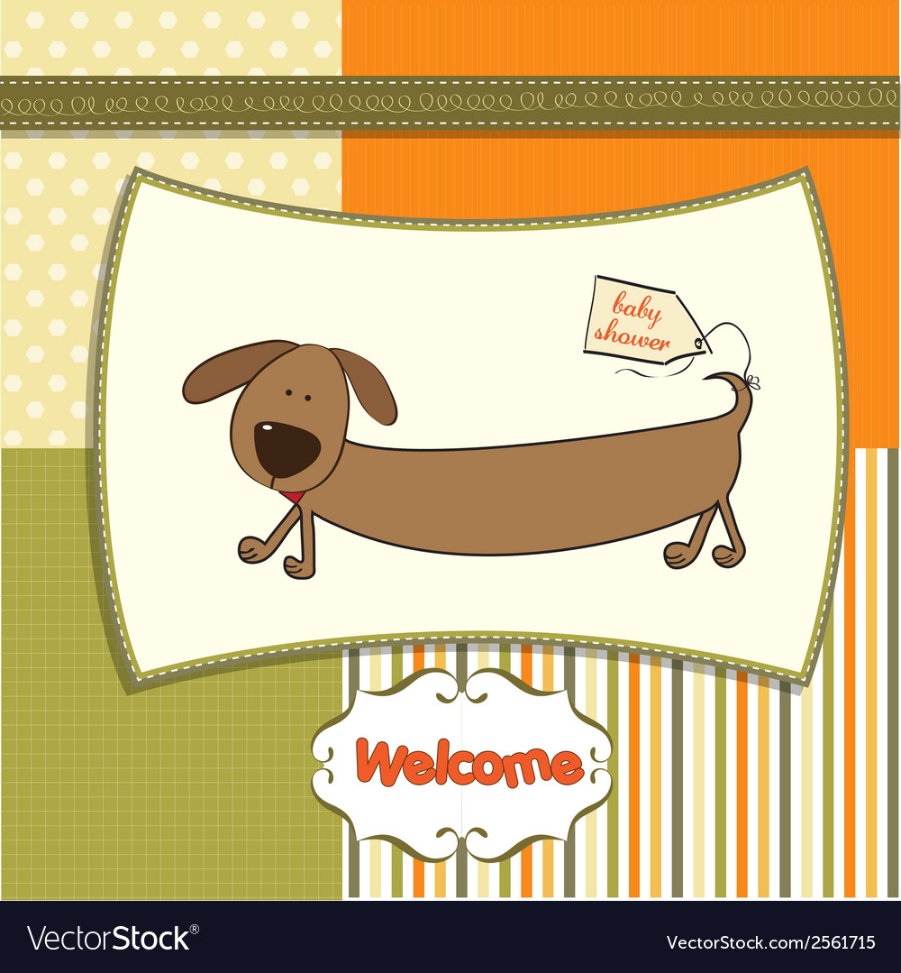 Funny shower card with long dog vector | Price: 1 Credit (USD $1)