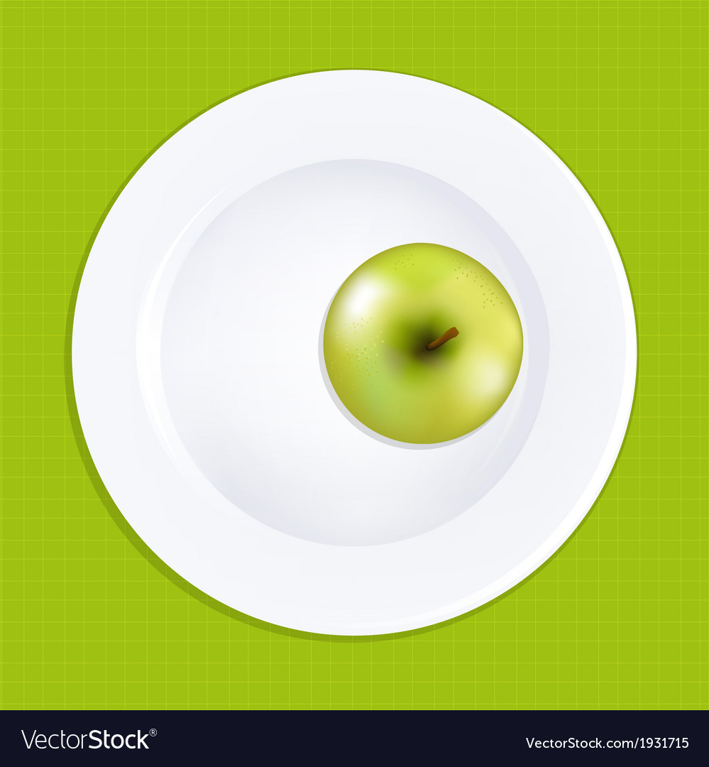 Green apple on white plate vector | Price: 1 Credit (USD $1)