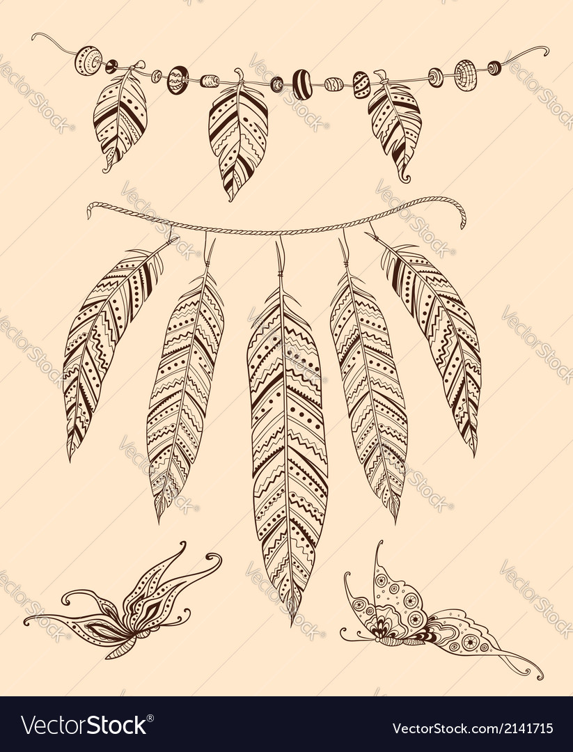 Hand drawn elements feather and butterflies vector | Price: 1 Credit (USD $1)