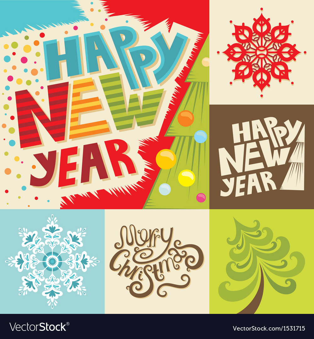 Happy new year lettering greeting card vector | Price: 3 Credit (USD $3)