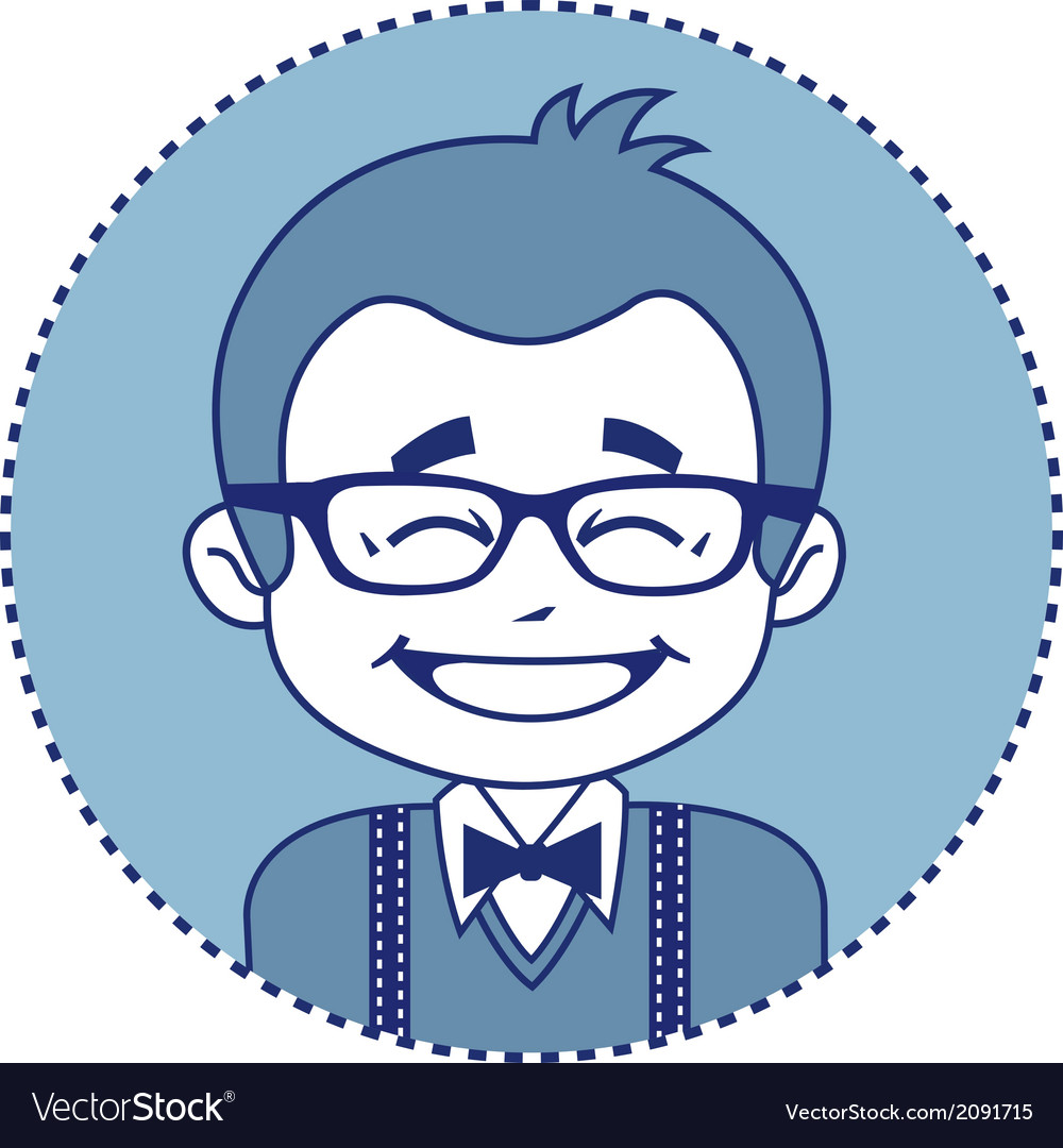 Happy showman or stage director in glasses vector | Price: 1 Credit (USD $1)