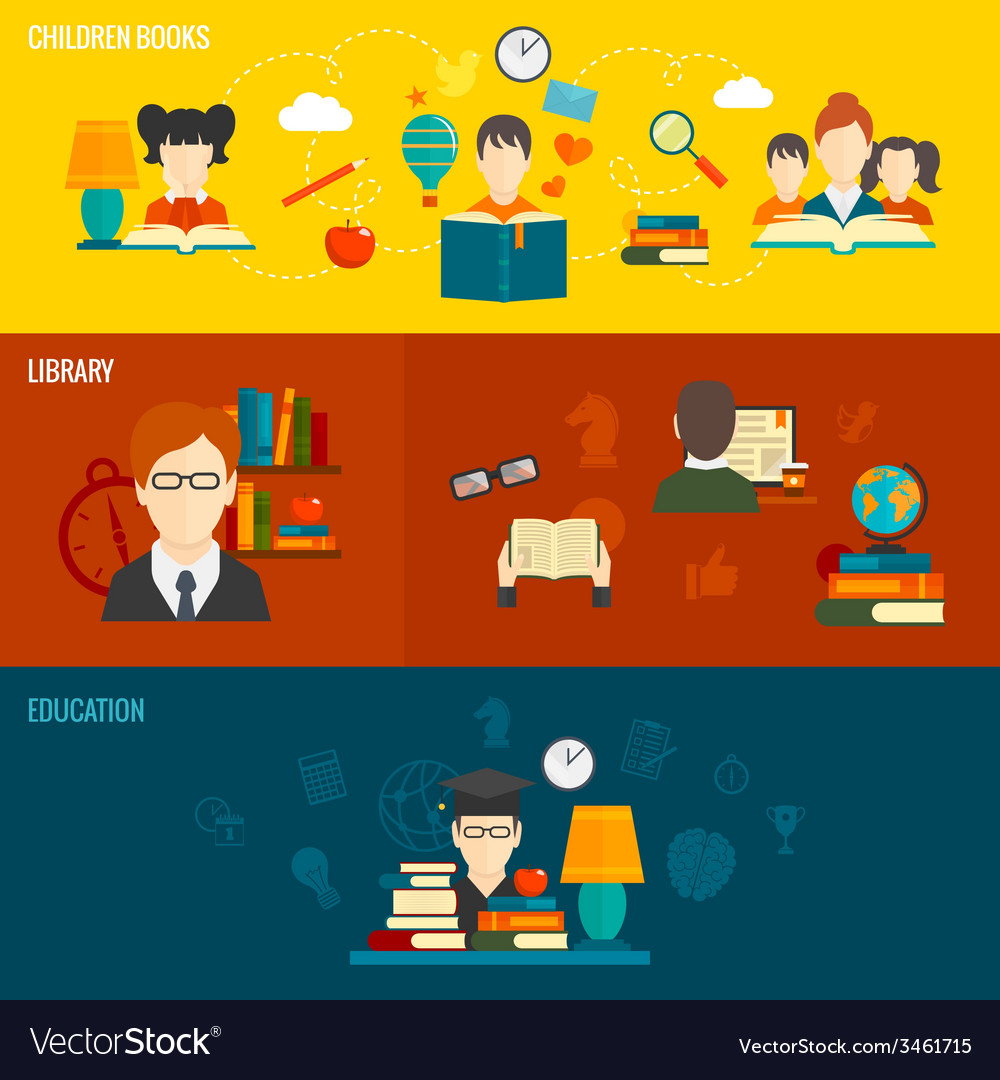 Reading banner set vector | Price: 1 Credit (USD $1)