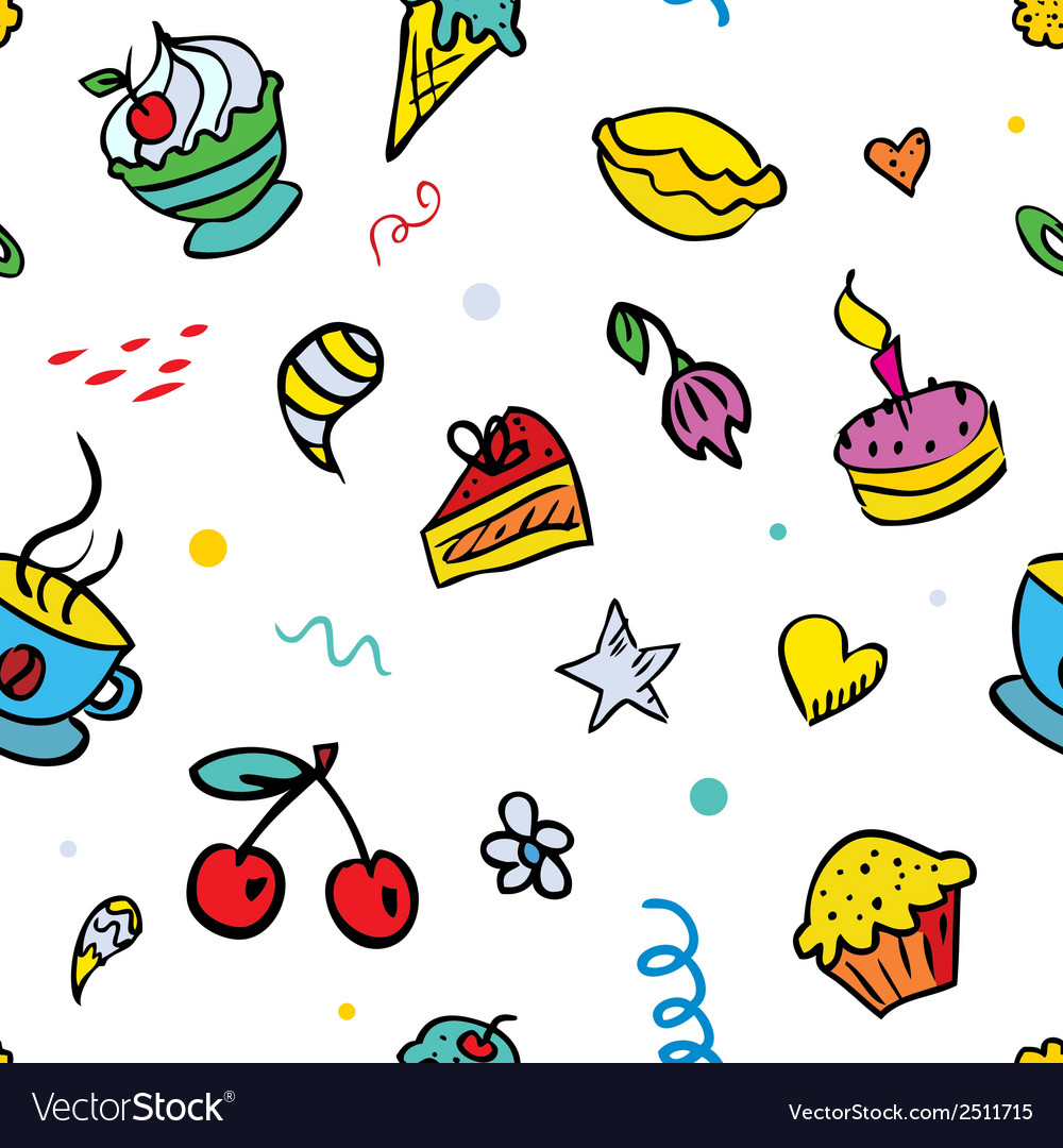 Seamless background with sweets vector | Price: 1 Credit (USD $1)