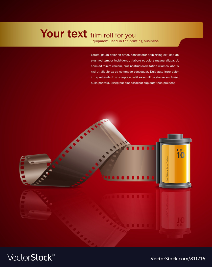 Camera film roll on red background vector | Price: 3 Credit (USD $3)