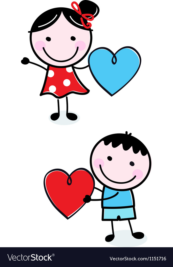 Cute stick kids holding hearts for valentines day vector | Price: 1 Credit (USD $1)