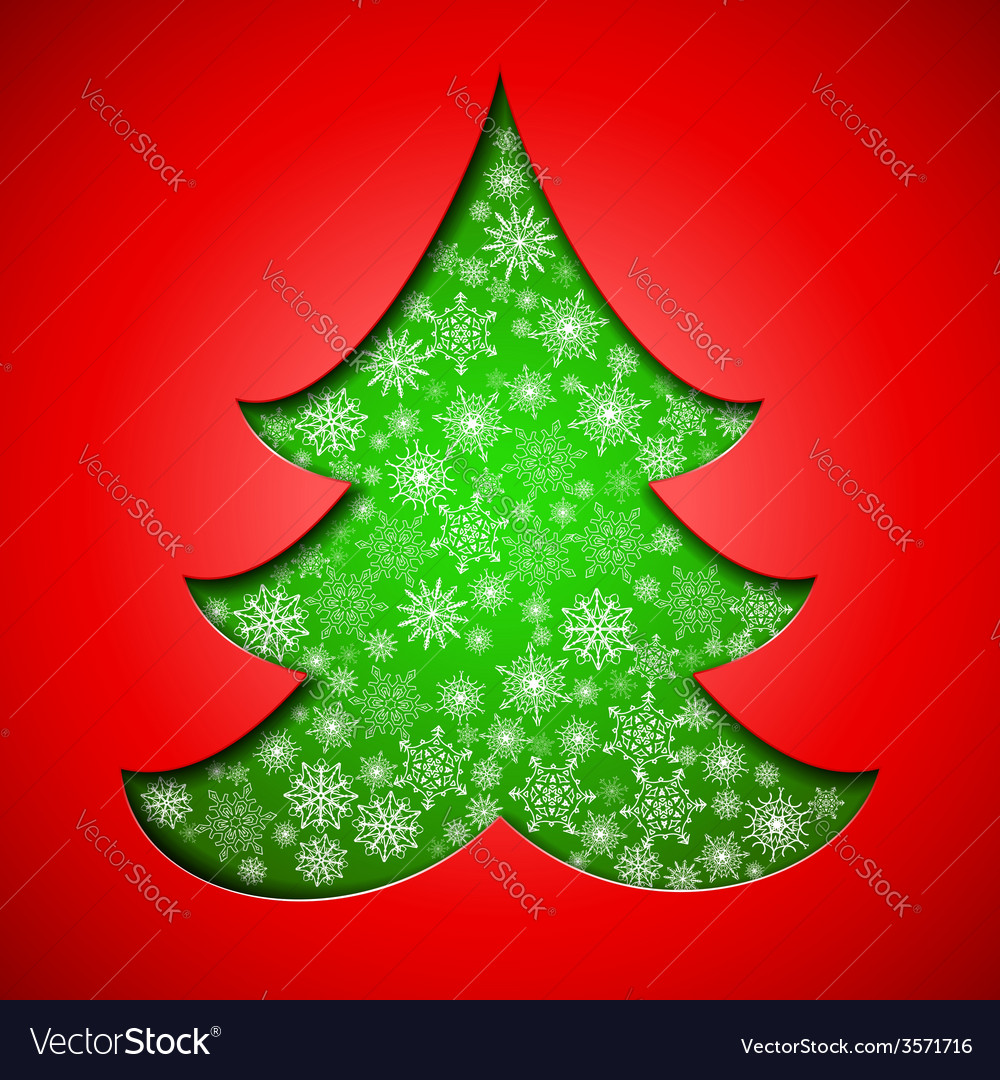 Cutout paper christmas tree with snowflakes vector | Price: 1 Credit (USD $1)