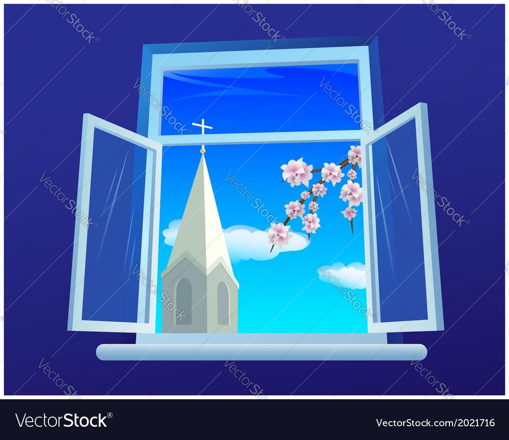 Easter window vector