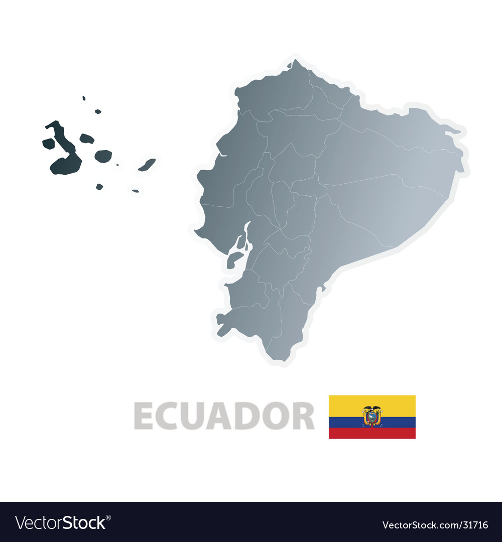 Ecuador map with official flag vector | Price: 1 Credit (USD $1)