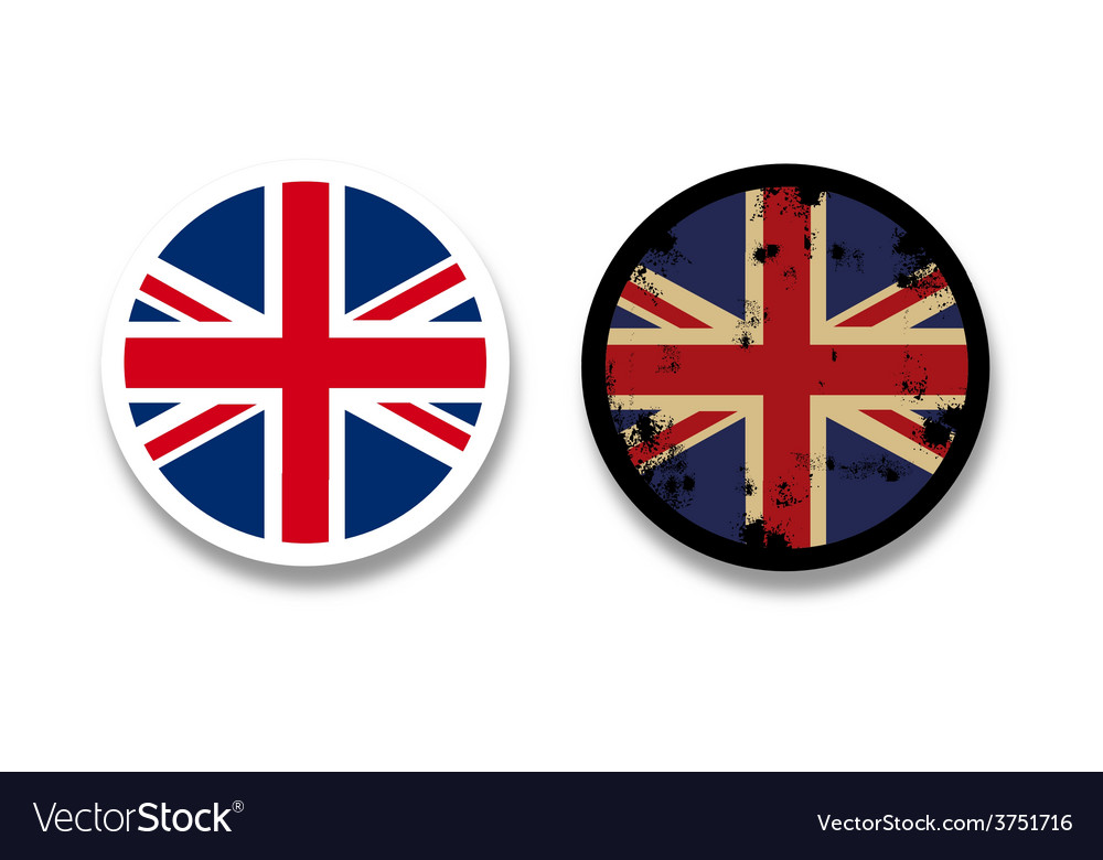 Grunge british flag badges vector   Price: 1 Credit (USD $1)