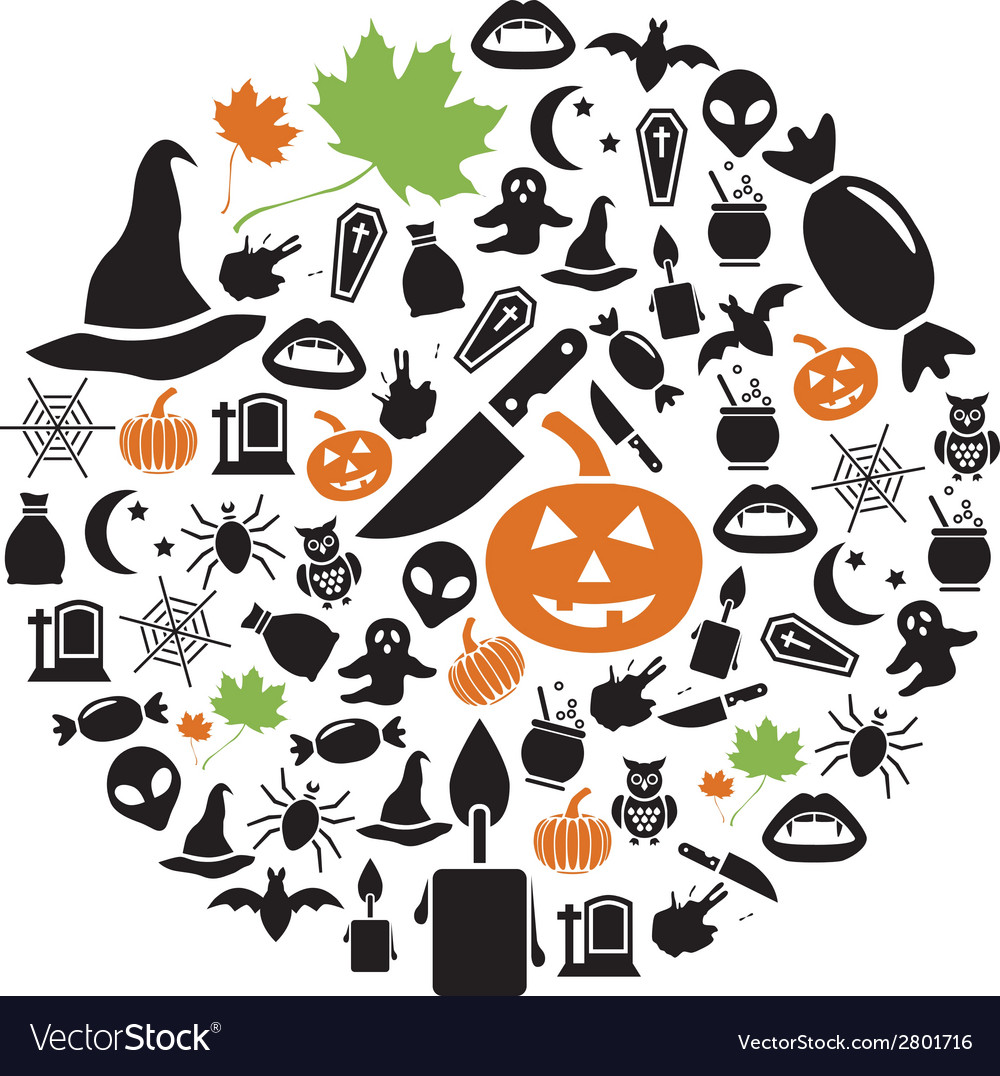 Halloween icons in circle vector | Price: 1 Credit (USD $1)