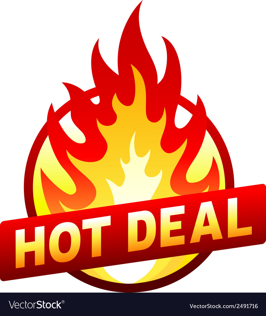 Hot deal fire badge price sticker flame vector | Price: 1 Credit (USD $1)