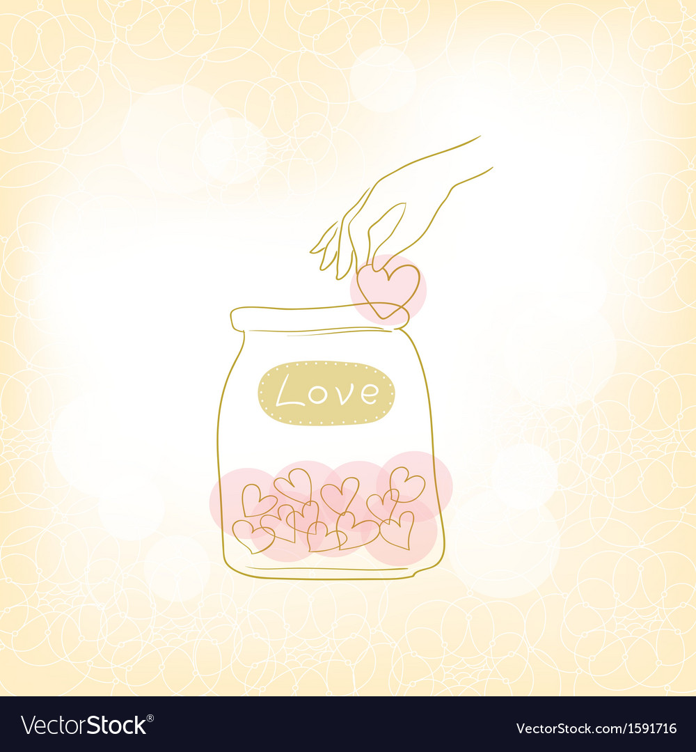 Jars with hearts vector | Price: 1 Credit (USD $1)