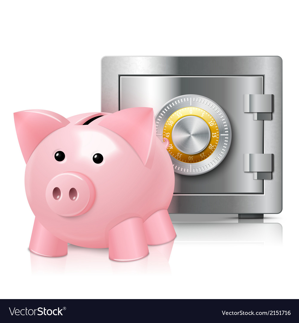 Piggy bank with safe print vector | Price: 1 Credit (USD $1)