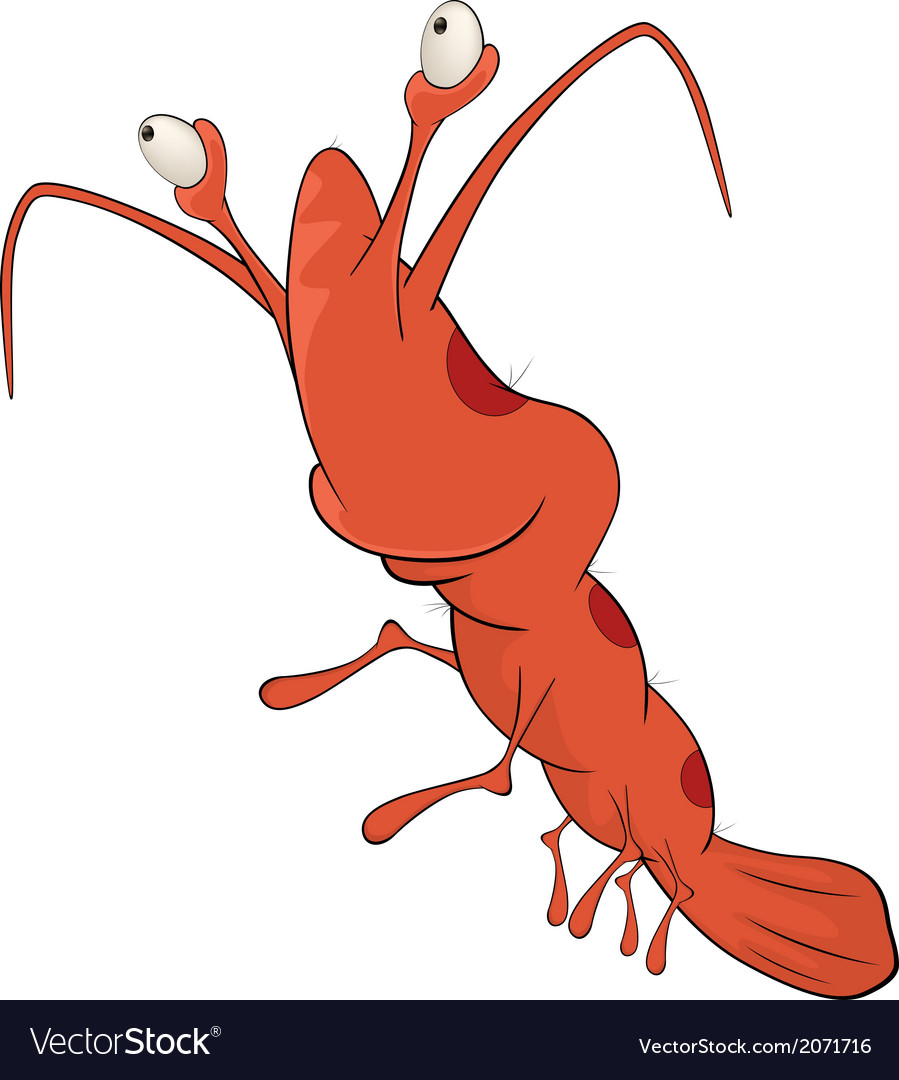 Red shrimp cartoon vector | Price: 1 Credit (USD $1)