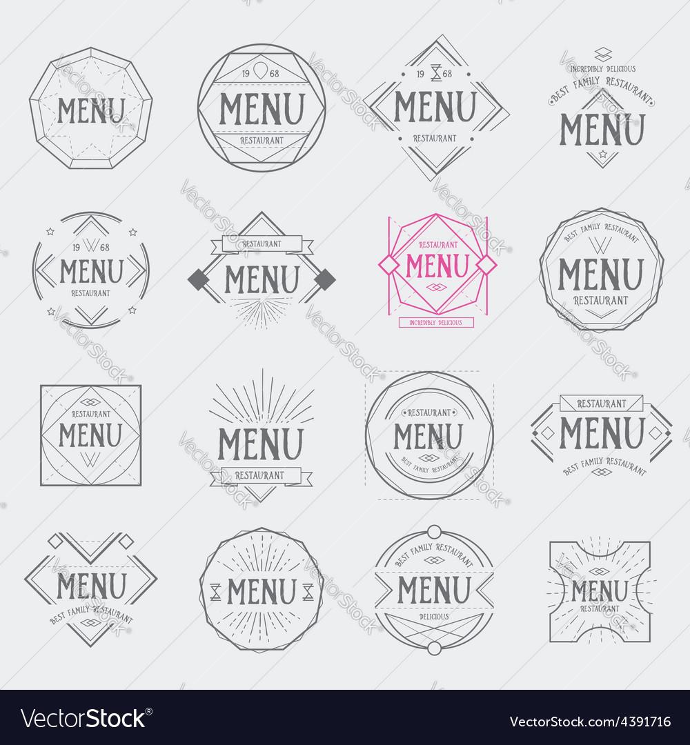 Restaurant menu logo vintage label retro design vector | Price: 1 Credit (USD $1)