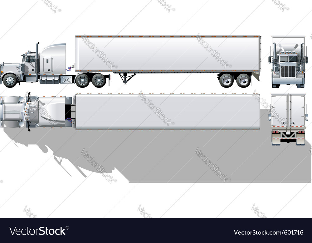 Semi-truck vector | Price: 3 Credit (USD $3)