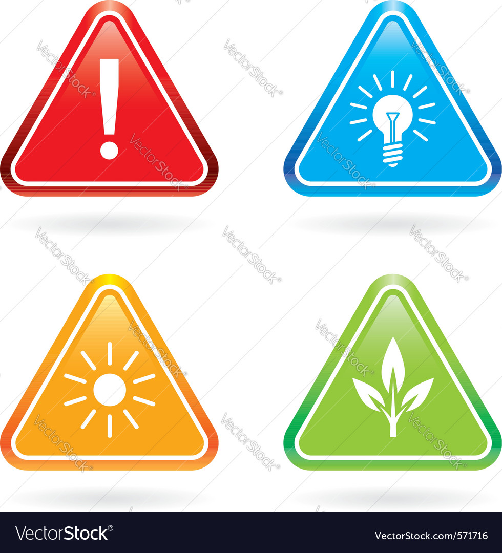 Triangle signs or icons on white background vector | Price: 1 Credit (USD $1)